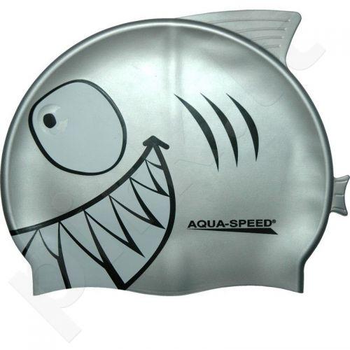 Maudymosi kepuraitė  Aqua-Speed silikoninė   SHARK Junior pilkas