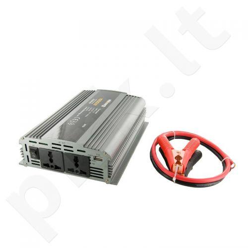 Whitenergy Inverteris AC/DC 12V (automobilis) 230V, 1000W, 2 lizdai