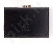 KRENIG Classic 12009 - IŠSKIRTINĖ juoda odinė piniginė, moterims
