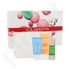 Clarins Party Season Booster priežiūros rinkinys moterims, (stiprinamasis veido odos serumas 15 ml + Švelnus šveitiklis valiklis 30 ml + drėkinantis kremas 15 ml + krepšys)