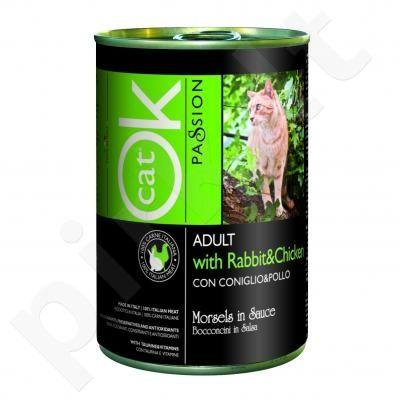 OK PASSION CAT konservai - triušiena/vištiena 405 g