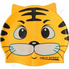 Maudymosi kepuraitė  Aqua-Speed silikoninė   ZOO Cat Junior geltonas