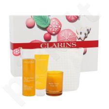 Clarins namų spa rinkinys moterims, (dušo želė tonizuojanti 200 ml + kūno balzamas 200 ml + kvapni žvakė aliejinė  50 g + kosmetikos krepšys)