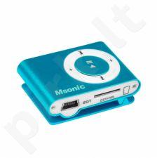 MP3 grotuvas su kortelių skaitytuvu Msonic, ausinės, miniUSB kabelis, mėlynas