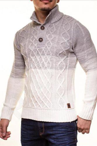 Šiltas megztinis CRSM - BIAŁO-pilka 9503-1
