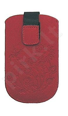 17-B1 FLOWERS universalus dėklas S5360 Telemax raudonas