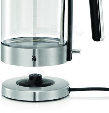 WMF 413150011 LONO Standard kettle, Glass, Stainless steel/Black, 3000 W, 360° rotational base, 1.7 L