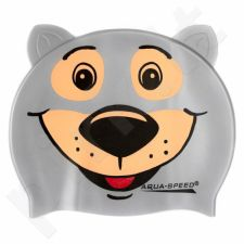 Maudymosi kepuraitė  Aqua-Speed silikoninė   ZOO Bear Junior pilkas