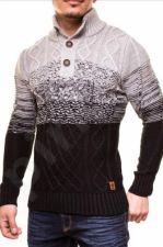 Šiltas megztinis CRSM - CZARNO-pilka 9503-2