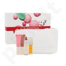 Clarins Saldus Lūpų rinkinys moterims, (Ružas 3,5 g + Instant Light Lip Comfort Oil 7 ml 01 +  Natūralus Lūpų Tobulintojas 2 x 5 ml 01 06 + kosmetikos krepšys) , (705 Soft Berry)