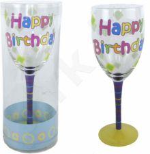 "Dekoruota vyno taurė ""Happy Birthday"""