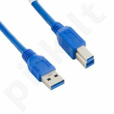 4World Kabelis USB 3.0 AM-BM 5.0m| mėlynas