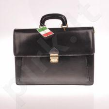 MADE IN ITALY Portafoglio 026, juoda itališka  rankinė iš natūralios odos