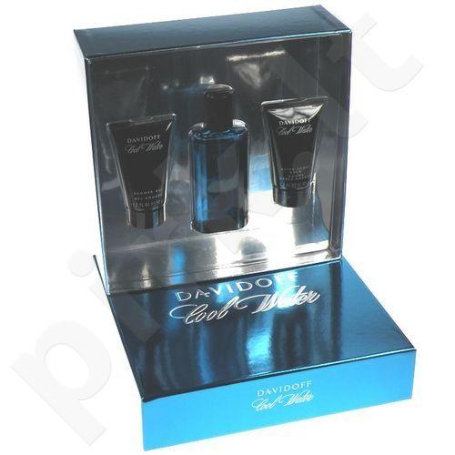 Davidoff Cool Water, rinkinys tualetinis vanduo vyrams, (EDT 75 ml + 50ml dušo želė + 50ml losjonas po skutimosi)
