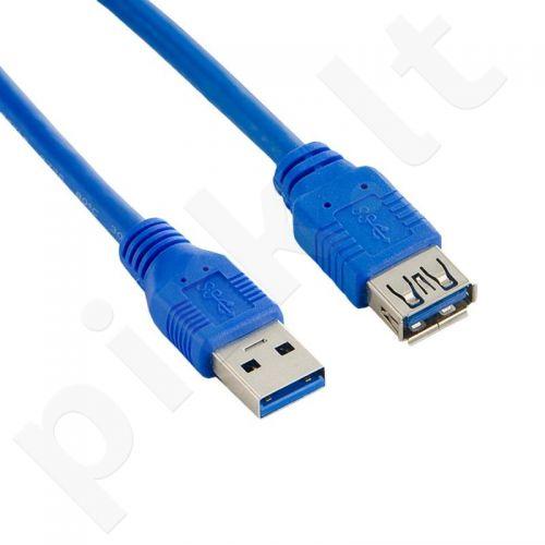 4World Kabelis USB 3.0 AM-AF 5m| mėlynas