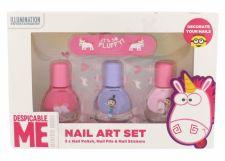 Minions Unicorns, rinkinys nagų lakas vaikams, (nagų lakas 3 x 4 ml + file 1 ks + nail stickers)