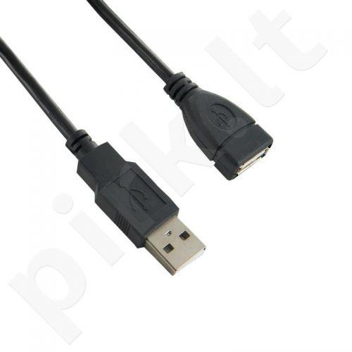 4World  Prailginantis kabelis USB 2.0 tipas A-A M/F 5m HQ, feritas - retail