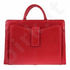 G5 iš natūralios odos  rankinė, skirta moterims,  raudonos spalvos