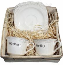 Dviejų puodelių komplektas su užrašu Dla Mamy Dla Taty 96665