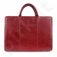 G3 iš natūralios odos  rankinė, skirta moterims, tamsiai raudonos spalvos