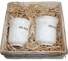 Dviejų puodelių komplektas su užrašu Dla Babci Dla Dziadka 96685