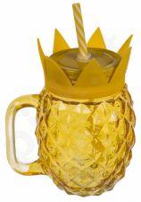 """Gėrimo stiklainis """"Ananasas"""" (500ml) su šiaudeliu"""