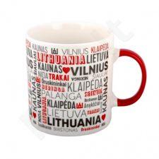 """XL Porcelianinis puodelis """"Lietuvos miestų pavadinimai"""" (530ml)"""