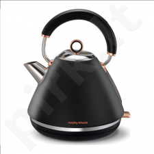 Morphy richards Rose Gold 102104 Standard kettle, Stainless steel, Black, 3000 W, 1.5 L, 360° rotational base