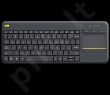 Bevielė klaviatūra Logitech K400 Plus Black (US International), jutiklinė
