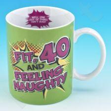 """Linksmas gimtadienio puodelis """"40"""""""