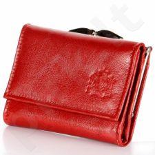 P147 raudona iš natūralios odos piniginė, moterims