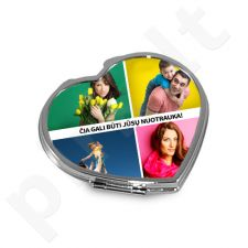 Širdelės formos veidrodėlis su Jūsų pasirinkta nuotrauka