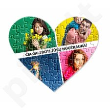 """Dėlionė """"Širdelė"""" su Jūsų pasirinkta nuotrauka (20x20 cm)"""