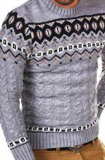 Norvegiškas vyriškas megztinis CRSM - pilka 9508-2