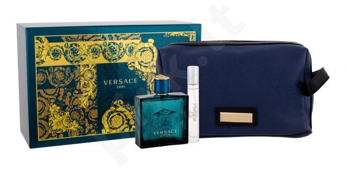 Versace Eros, rinkinys tualetinis vanduo vyrams, (EDT 100 ml + EDT 10 ml + kosmetika krepšys)