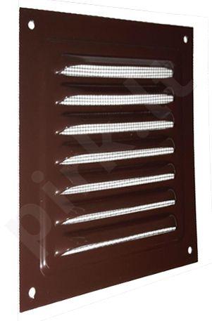 Grotelė metalinė (su tinkleliu, ruda) 200x200