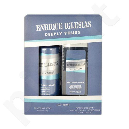 Enrique Iglesias Deeply Yours rinkinys vyrams, (150ml dezodorantas + 75ml dezodorantas) [pažeista pakuotė]