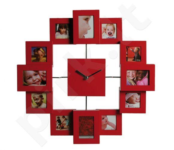 Laikrodis - 12 nuotraukų rėmelis, raudonas