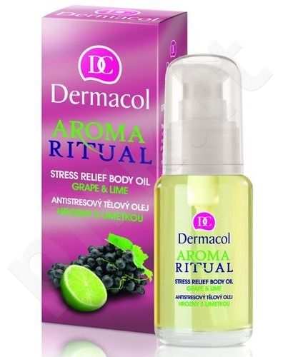 Dermacol Aroma Ritual, Stress Relief Body Oil Grape & Lime, For Massage moterims, 50ml