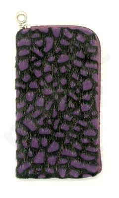 14-B juodas FUR universalus dėklas 2 Telemax violetinis