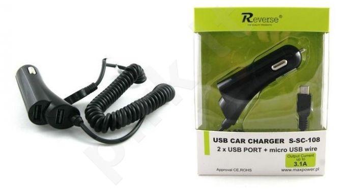 micro USB automobilinis įkroviklis 3,1 A Reverse juodas