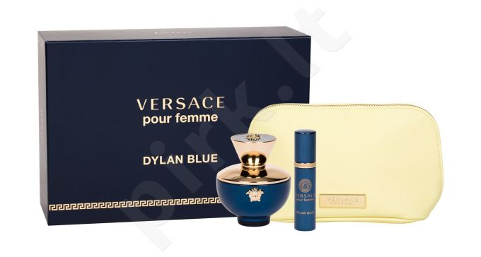 Versace Dylan Blue, Pour Femme, rinkinys kvapusis vanduo moterims, (EDP 100 ml + EDP 10 ml + kosmetika krepšys)