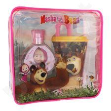 Disney Masha and The Bear rinkinys vaikams, (EDT 50 ml + geriamasis puodelis su šiaudeliu  + kosmetika krepšys)