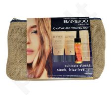 Alterna Bamboo Smooth On The Go Travel Kit rinkinys moterims, (40ml Anti-Frizz šampūnas + 40ml Anti-Frizz kondicionierius + 43g Anti-Humidity Hair purškiklis + 25ml Kendi Oil Pure Treatment Oil Thick Hair)