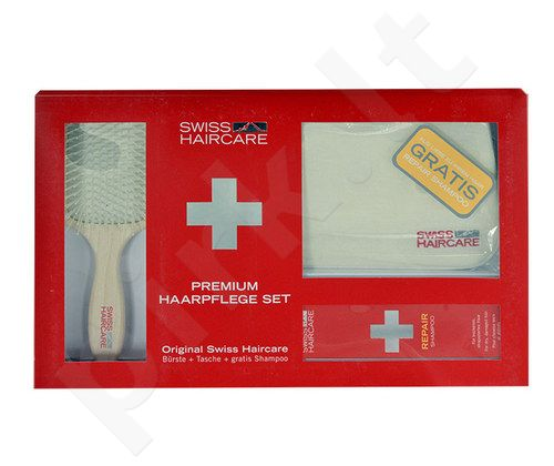 Swiss Haircare Premium Haircare Repair Kit rinkinys moterims, (Paddle Brush + krepšys + 200ml Repair šampūnas)