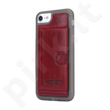 Leather case with pocket, Pierre Cardin, red (iPhone 7/8)
