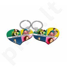 """Medinis raktų pakabukas """"Dvi širdelės"""" su Jūsų pasirinkta nuotrauka"""