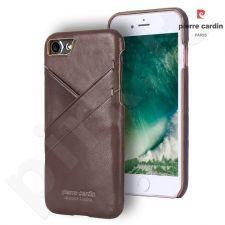 Leather case with 3 pockets, Pierre Cardin, dark brown (iPhone 7/8)