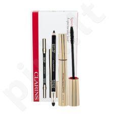 Clarins blakstienų tušas Wonder Perfect rinkinys moterims, (blakstienų tušas 7 ml + akių kontūrų pieštukas atsparus vandeniui 1,2 g 01 Black) , (Black)