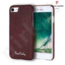 Leather case, Pierre Cardin, dark cherry (iPhone 7/8)